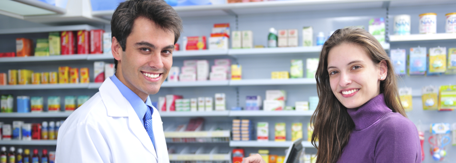 pharmacist and customer smiling